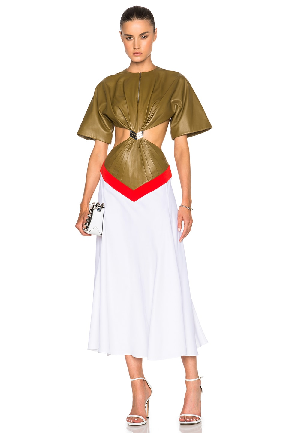 Image 1 of Mugler Pique & Leather Gown in Khaki, Poppy & White