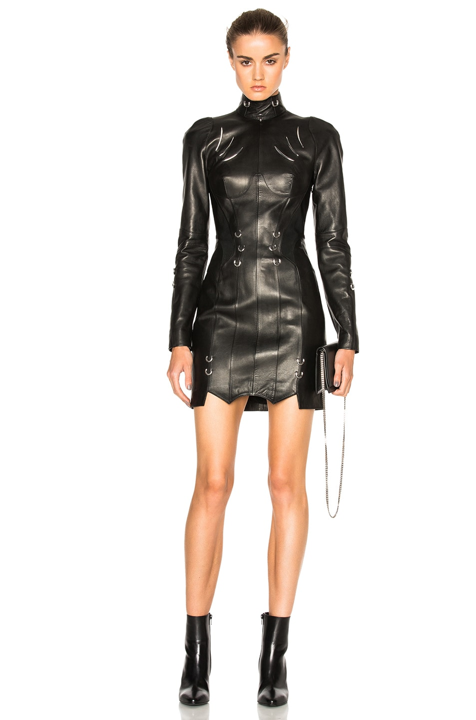 Image 1 of Mugler Leather Piercing Mini Dress in Black