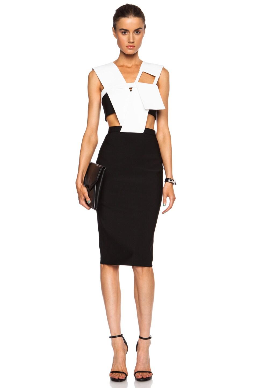 Image 1 of Mugler Mega Milano Draped Viscose-Blend Dress in Black & Off White
