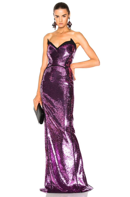 Mugler Sequin Mermaid Gown in Atomic Pink & Black | FWRD
