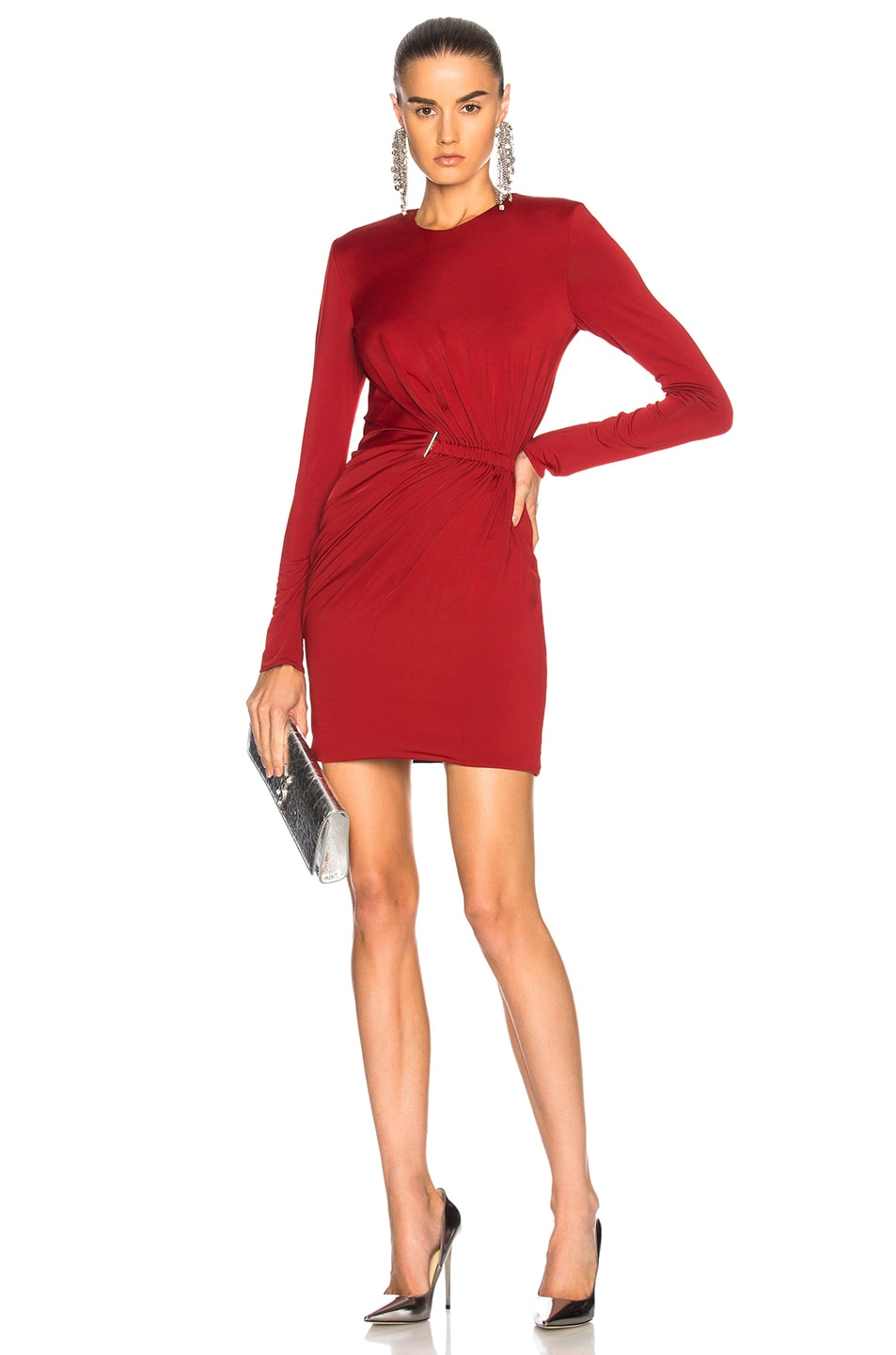 Image 1 of Mugler Fluid Jersey Long Sleeve Mini Dress in Ruby