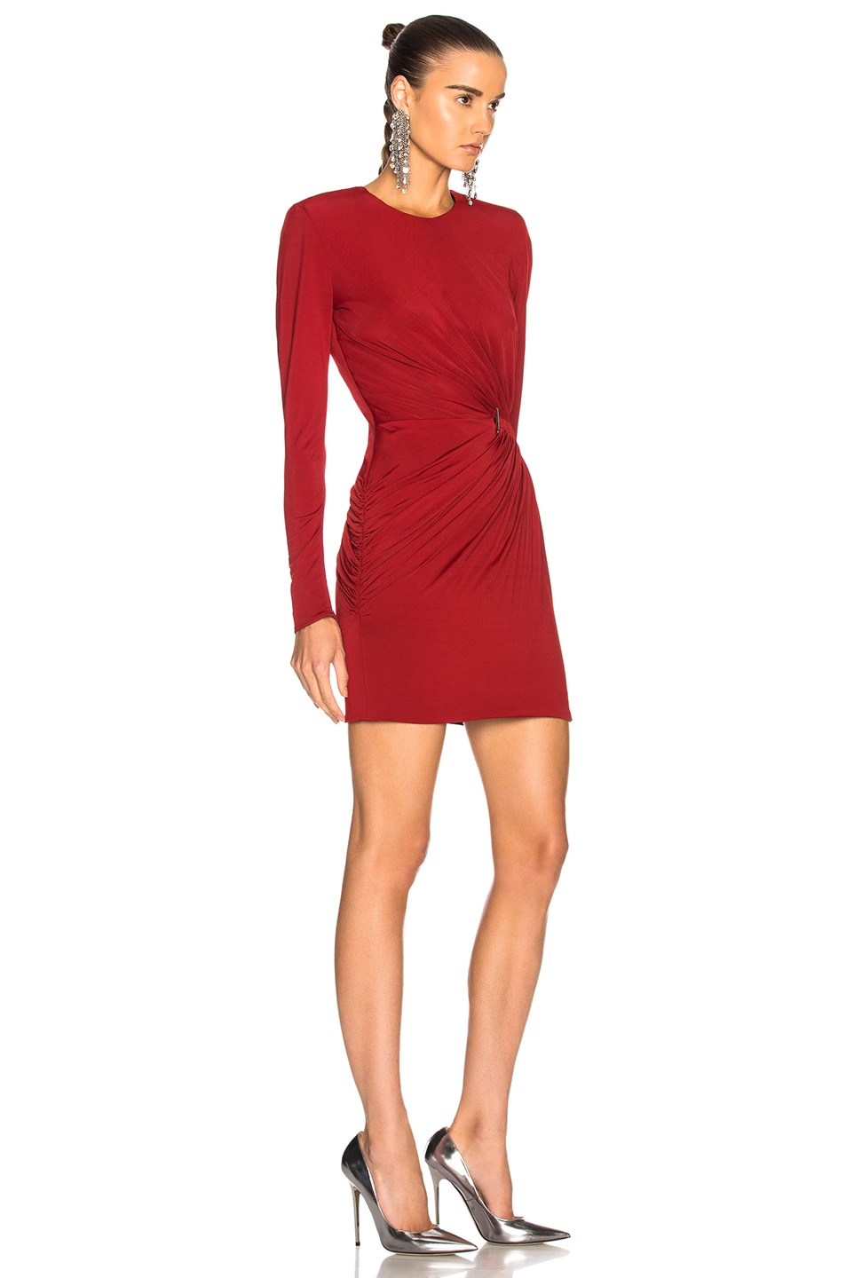 Image 2 of Mugler Fluid Jersey Long Sleeve Mini Dress in Ruby