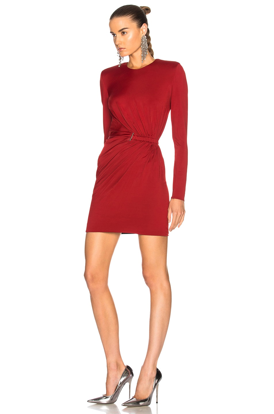 Image 3 of Mugler Fluid Jersey Long Sleeve Mini Dress in Ruby