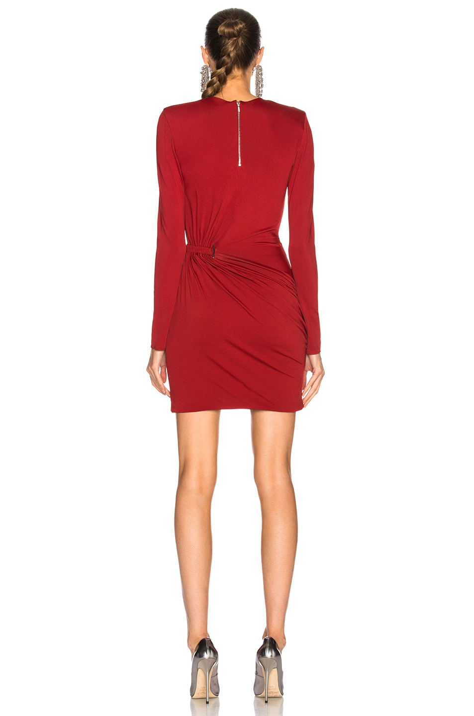 Image 4 of Mugler Fluid Jersey Long Sleeve Mini Dress in Ruby