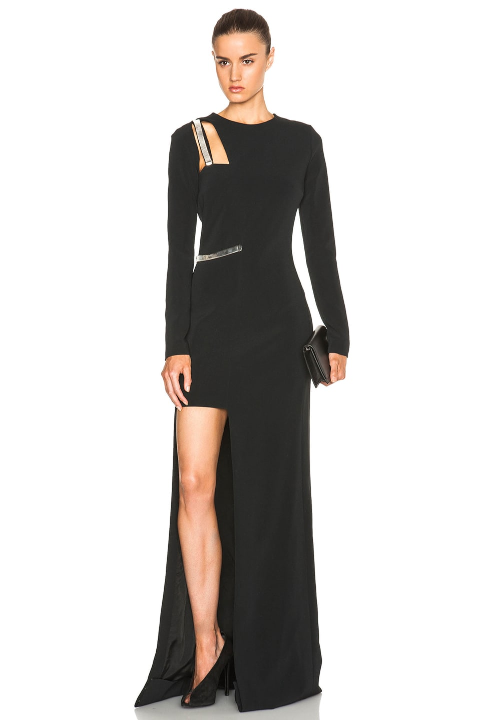 Image 1 of Mugler Fitted Cady Asymmetric Gown in Black