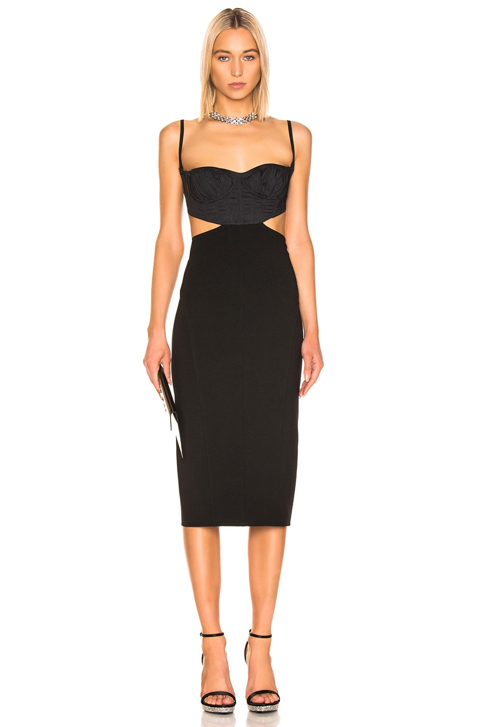 Image 1 of Mugler Cut Out Dress in Black
