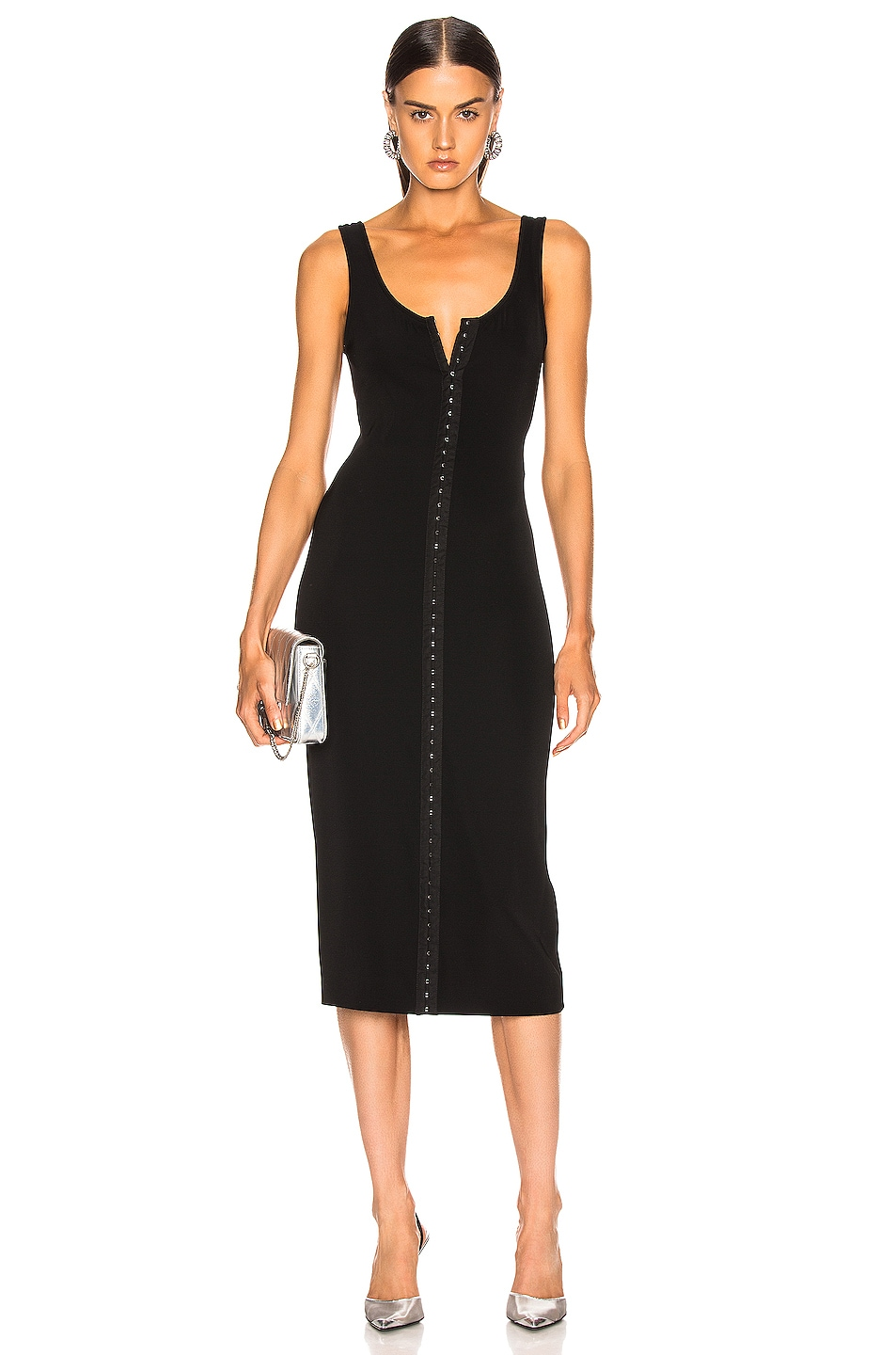 Image 1 of Mugler Hook and Eye Midi Dress in Black