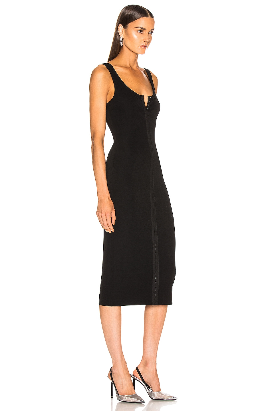Image 2 of Mugler Hook and Eye Midi Dress in Black