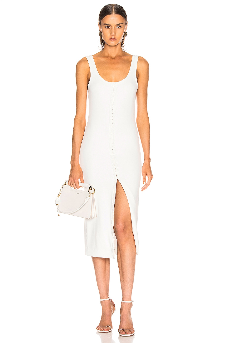 Image 1 of Mugler Hook and Eye Midi Dress in White