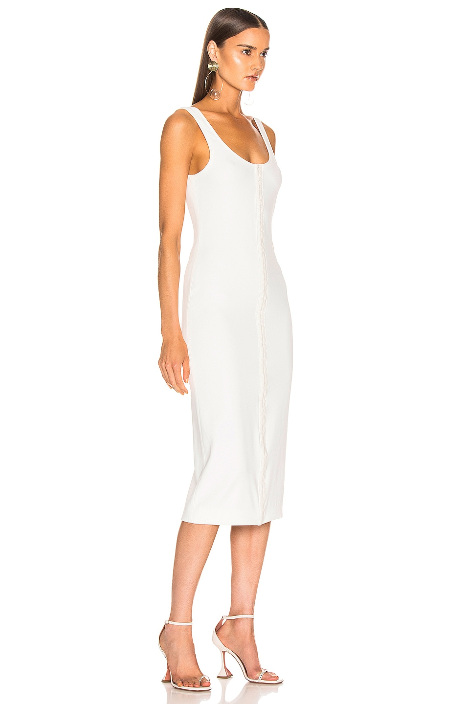 Image 2 of Mugler Hook and Eye Midi Dress in White