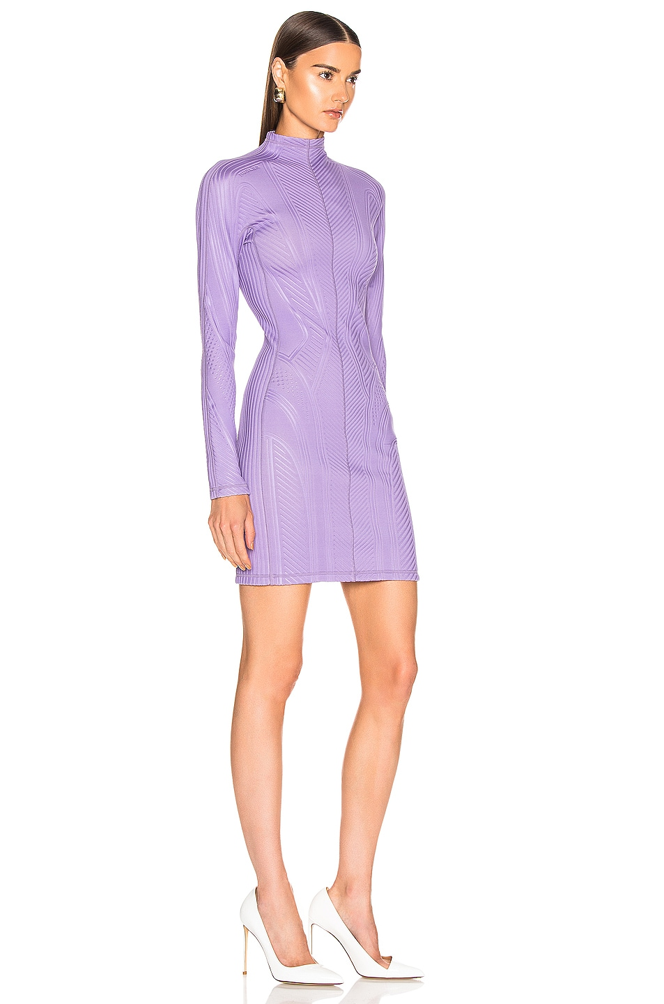 Image 2 of Mugler Long Sleeve Sport Dress in Lilac