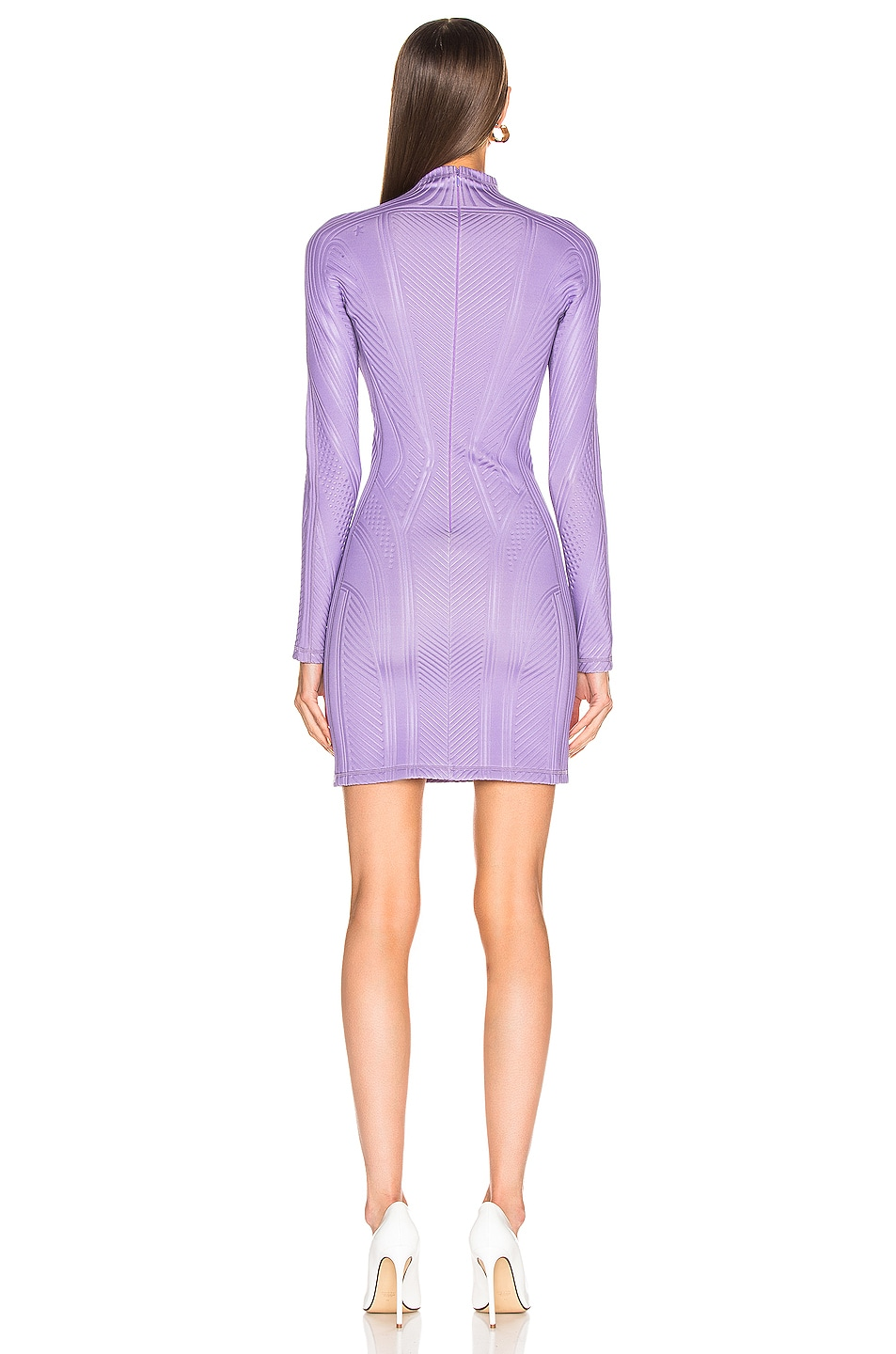 Image 3 of Mugler Long Sleeve Sport Dress in Lilac
