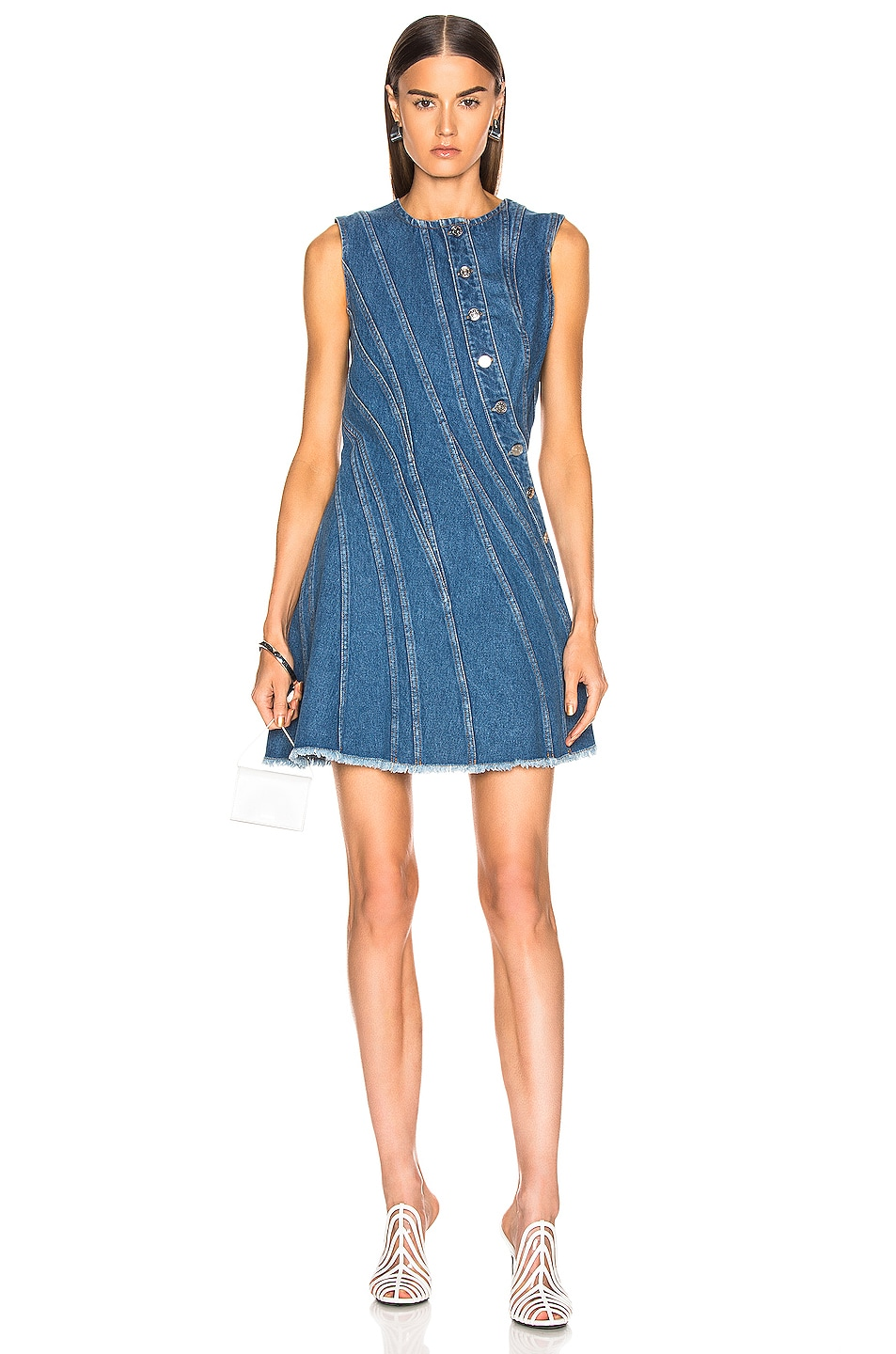 Image 1 of Mugler Denim Mini Dress in Medium Blue