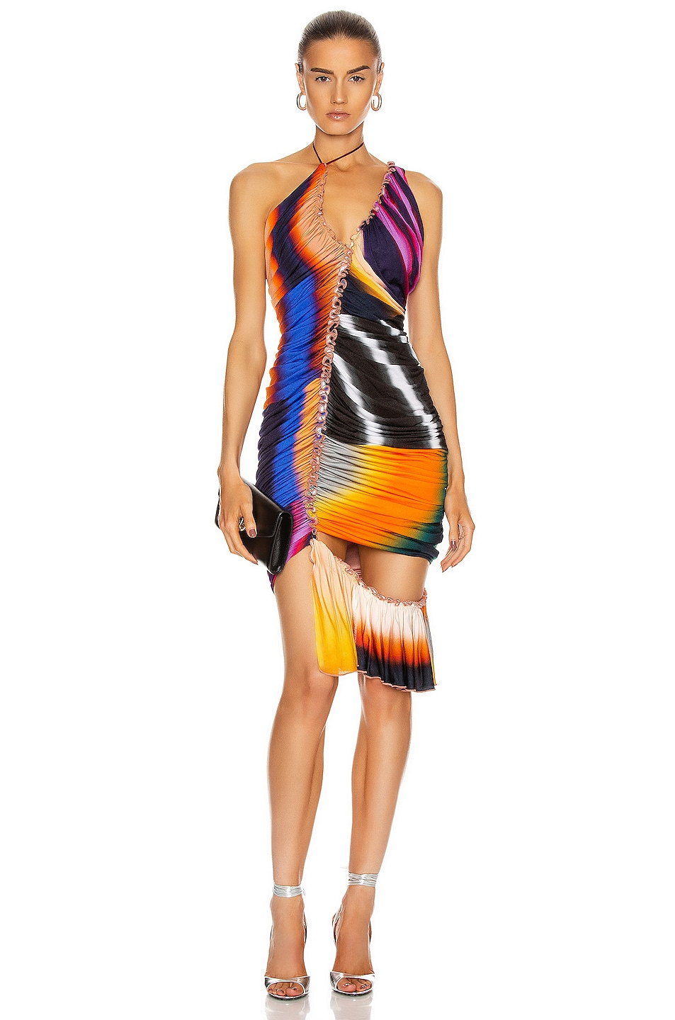 Image 1 of Mugler Ruched Mini Dress in Rainbow Stripes