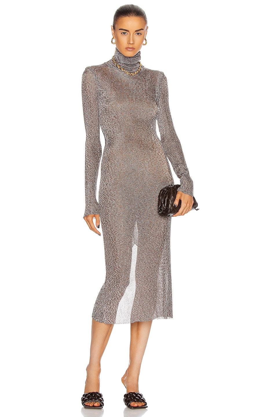 Image 1 of Mugler Long Sleeve Turtleneck Dress in Chocolat & Silver