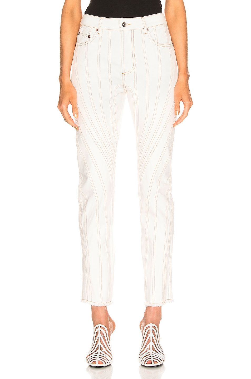 Image 1 of Mugler Line Mid Rise Denim in Natural White