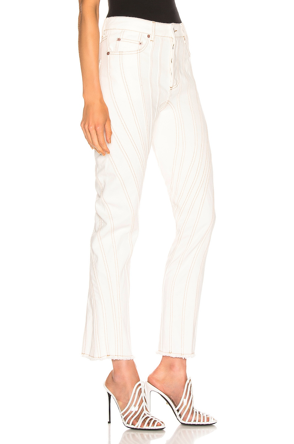 Image 2 of Mugler Line Mid Rise Denim in Natural White