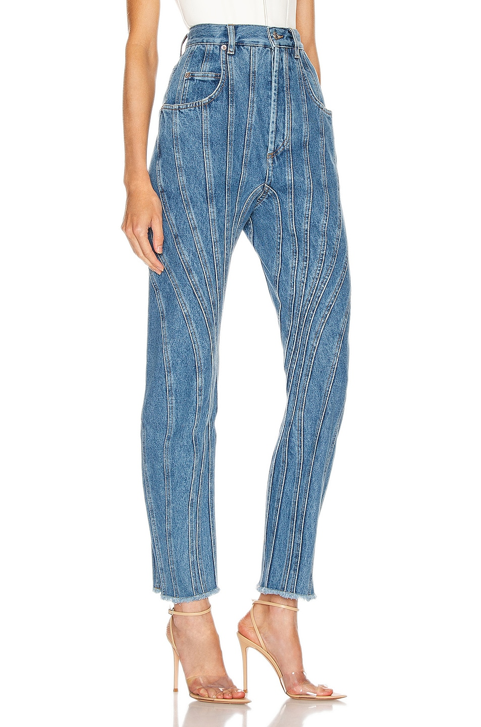Image 2 of Mugler High Spiral Jean in Medium Blue