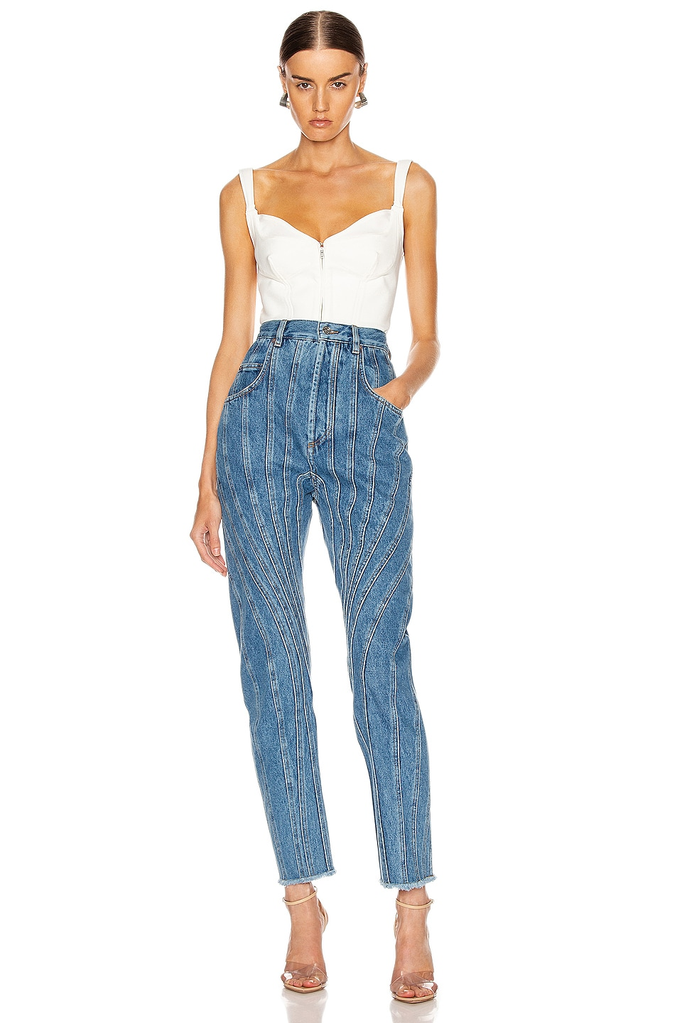 Image 4 of Mugler High Spiral Jean in Medium Blue