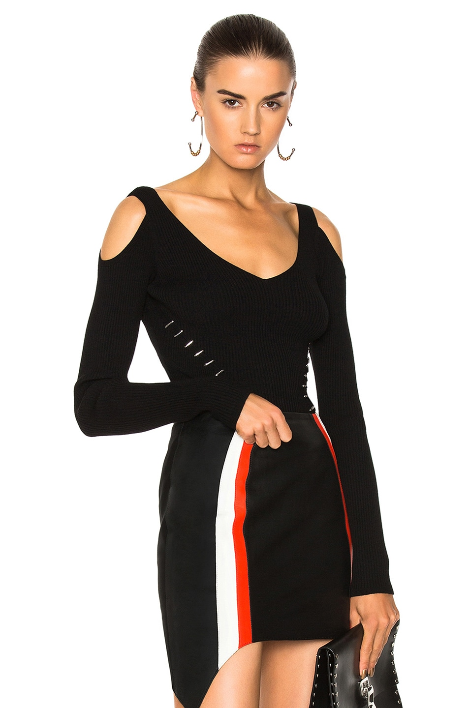 Mugler Viscose Rib Open Shoulder Sweater in Black