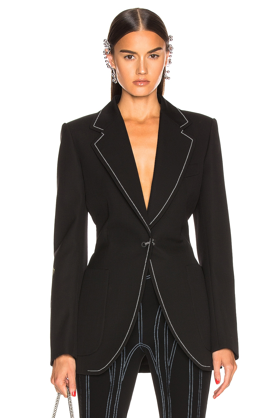 Image 1 of Mugler Tailored Blazer in Black