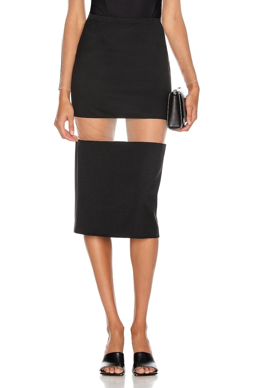 Image 1 of Mugler Cutout Midi Skirt in Black