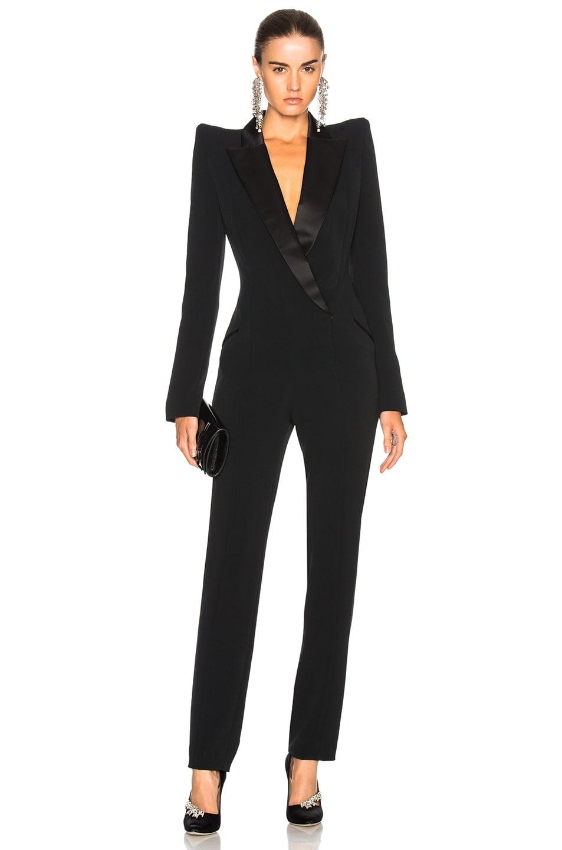 9b09f17366f Image 1 of Mugler Crepe Tuxedo Jumpsuit in Black