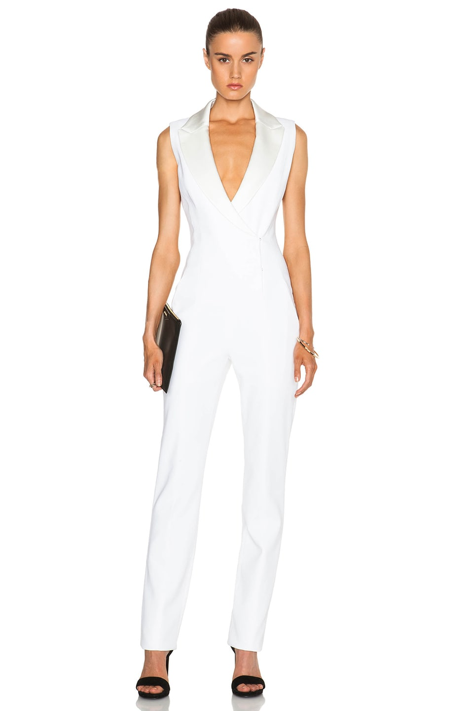 Mugler Fitted Cady & Draped Satin Jumpsuit in Off White | FWRD