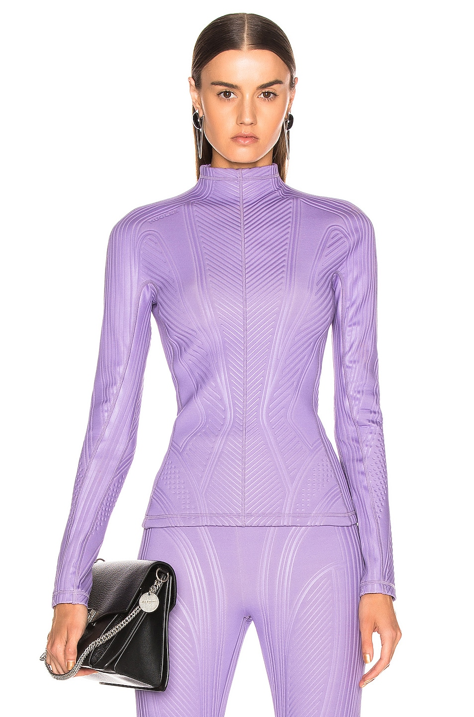 Image 1 of Mugler Long Sleeve Sport Top in Lilac