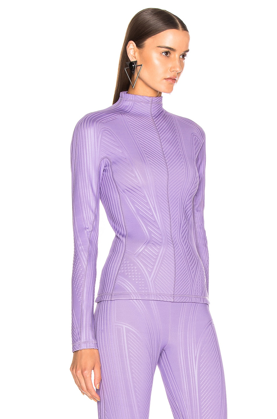 Image 2 of Mugler Long Sleeve Sport Top in Lilac