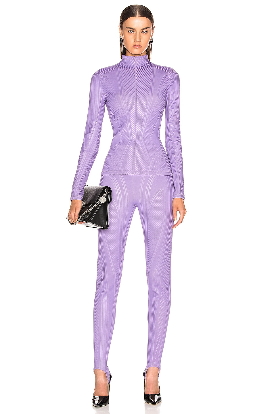 Image 4 of Mugler Long Sleeve Sport Top in Lilac