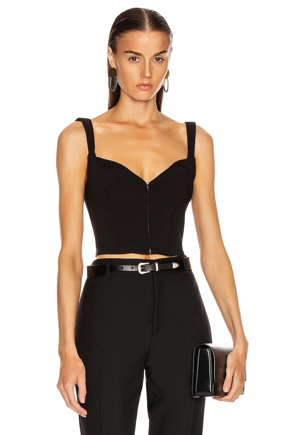 Image 1 of Mugler Zipper Bustier Top in Black
