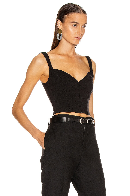 Image 2 of Mugler Zipper Bustier Top in Black