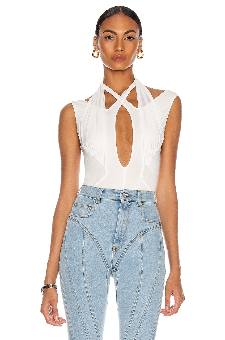 Image 1 of Mugler Sleeveless Cutout Bodysuit in White