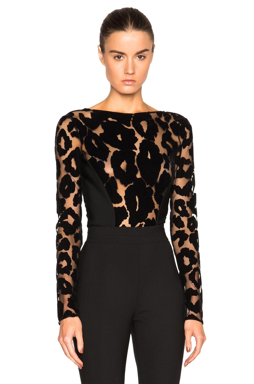 bf902fda8246 Image 1 of Mugler Leopard Velour & Mega Milano Bodysuit in Black