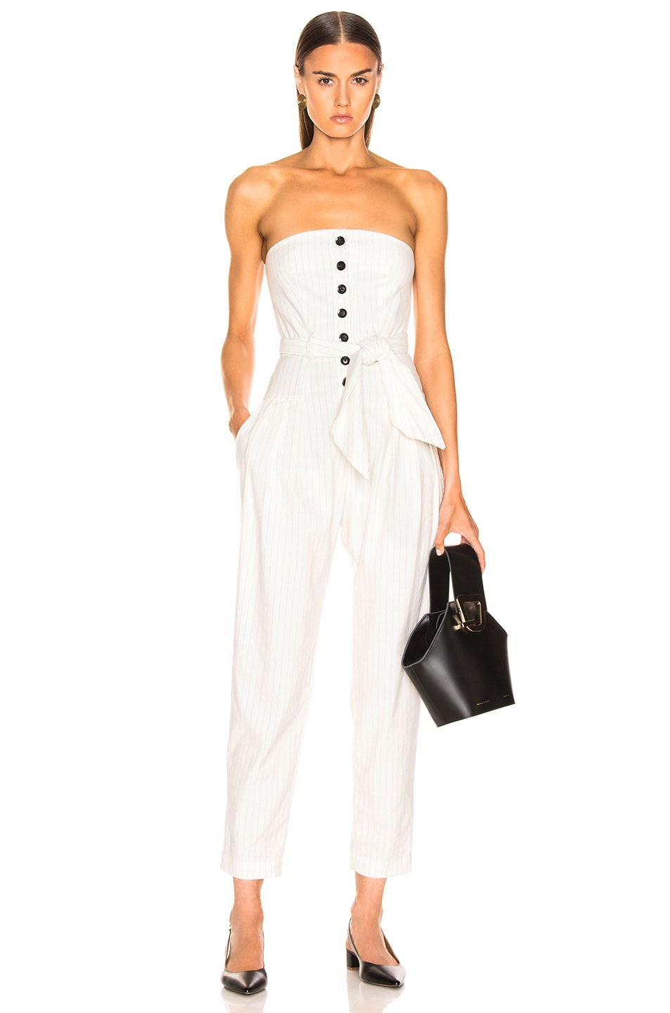 Image 1 of Marissa Webb Nikos Linen Jumpsuit in White Pinstripe