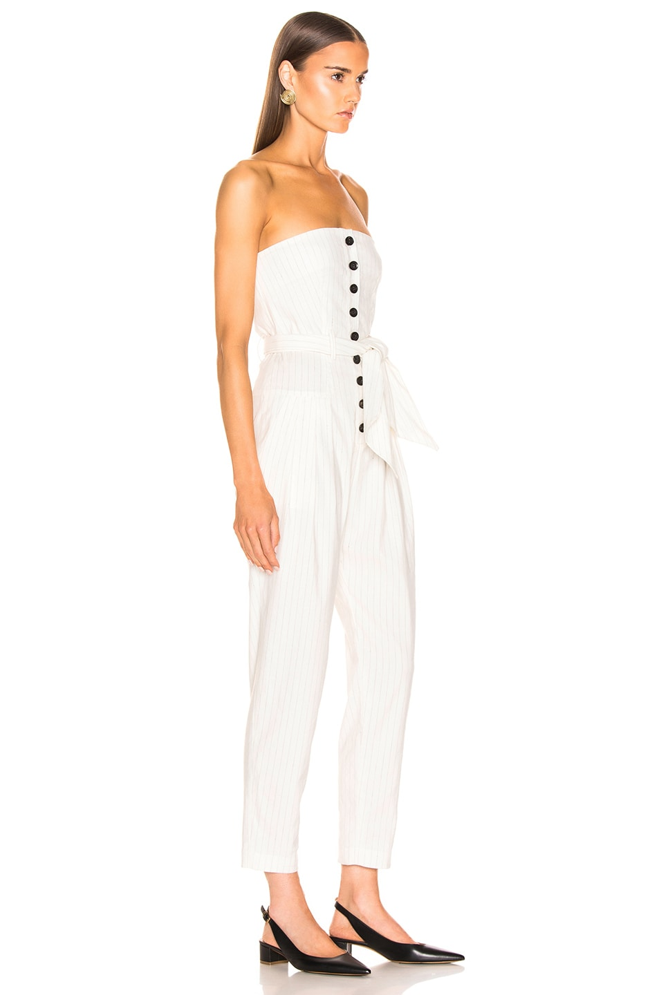 Image 2 of Marissa Webb Nikos Linen Jumpsuit in White Pinstripe