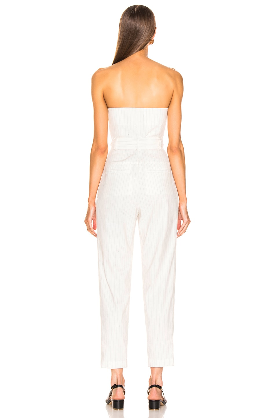 Image 3 of Marissa Webb Nikos Linen Jumpsuit in White Pinstripe