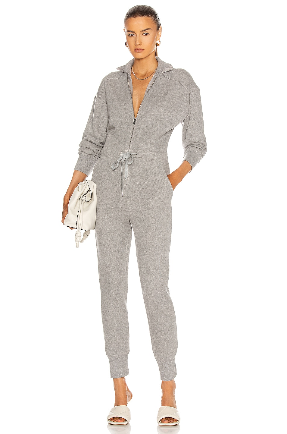 Image 1 of Marissa Webb Red-Eye French Terry Zip Front Jumpsuit in Heather Grey