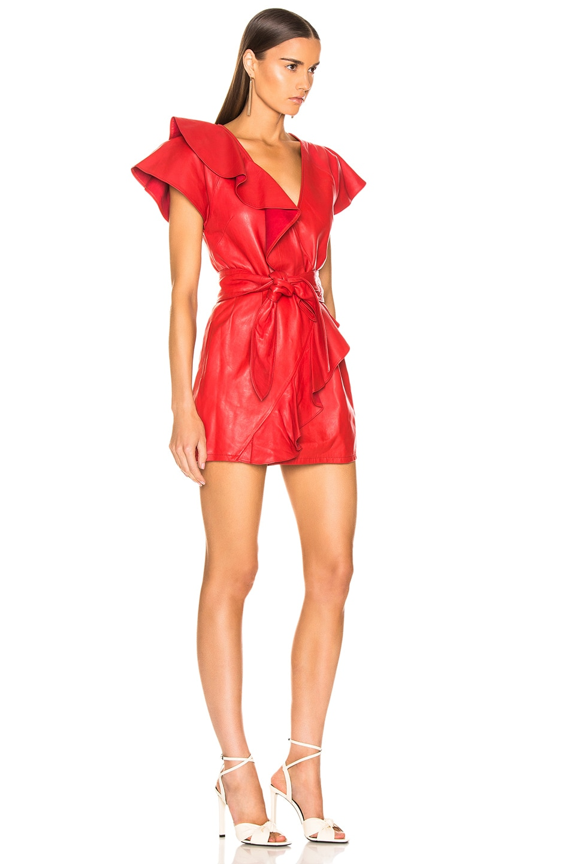 Image 2 of Marissa Webb Josefina Leather Dress in Cardinal Red