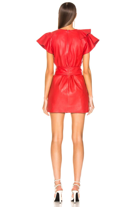 Image 4 of Marissa Webb Josefina Leather Dress in Cardinal Red