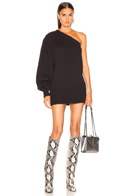 Image 1 of Marissa Webb Laurette One Shoulder Sweater Dress in Ash
