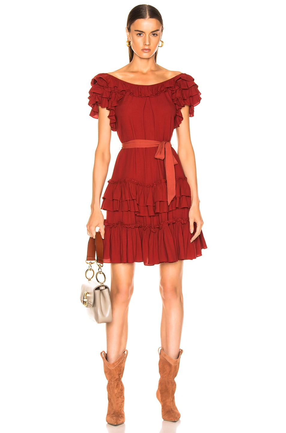 Image 1 of Marissa Webb Elio Crepe Mini Dress in Spiced Red