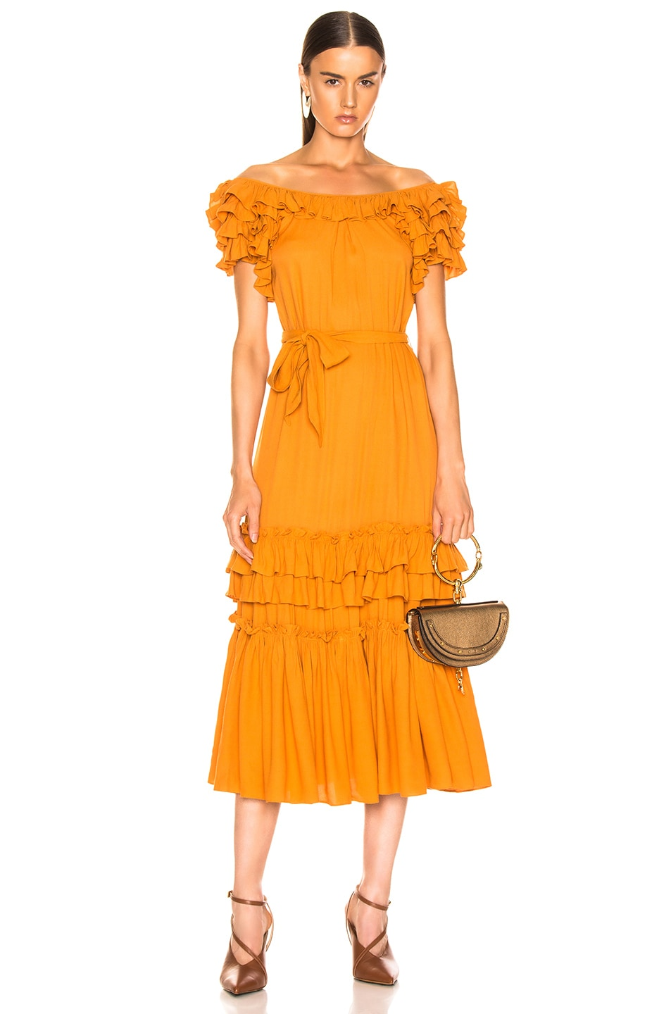 Image 1 of Marissa Webb Elio Crepe Midi Dress in Mojave Yellow