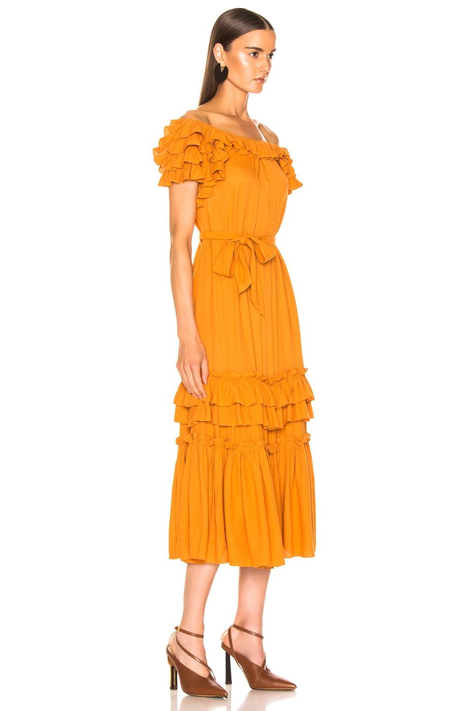 Image 2 of Marissa Webb Elio Crepe Midi Dress in Mojave Yellow