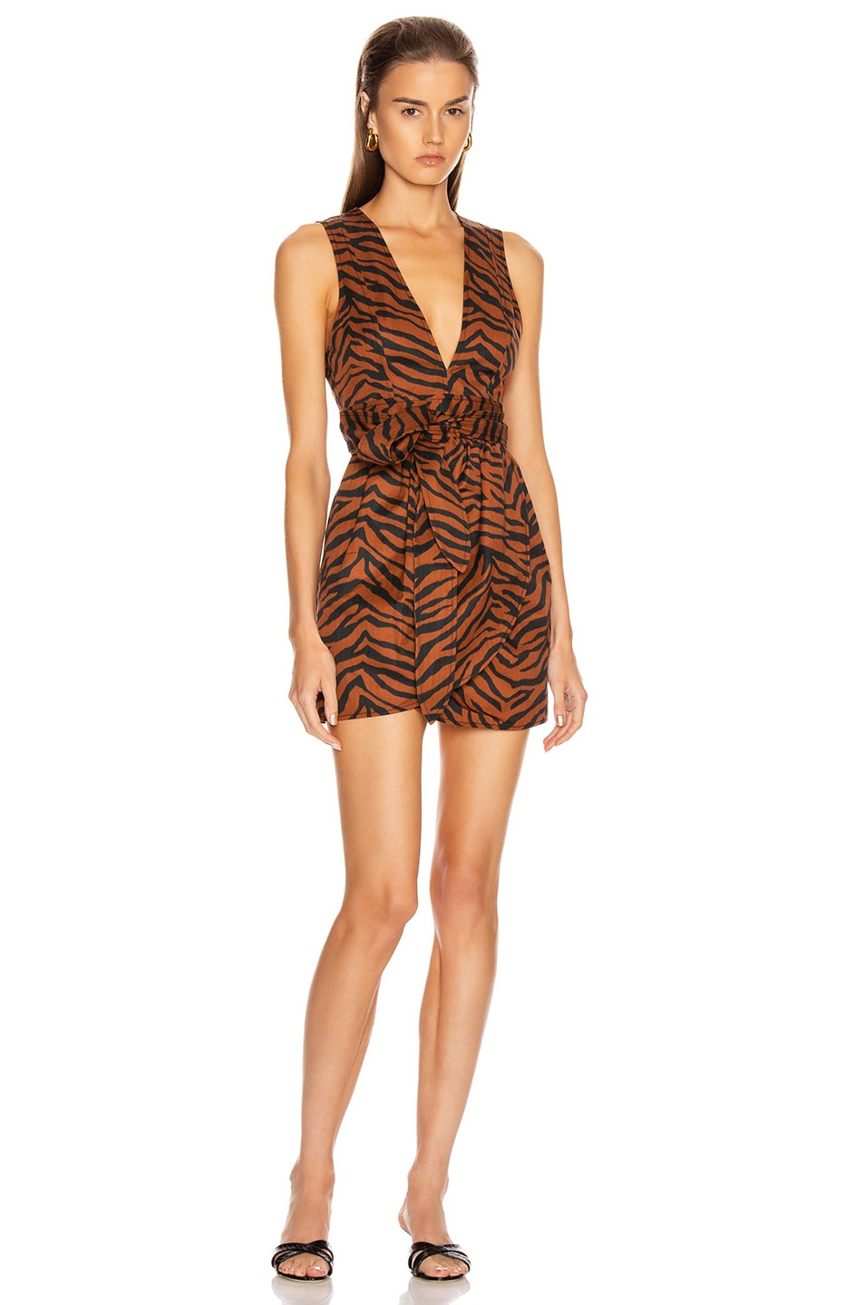 Image 1 of Marissa Webb Jones Heavy Canvas Print Dress in Copper Zebra