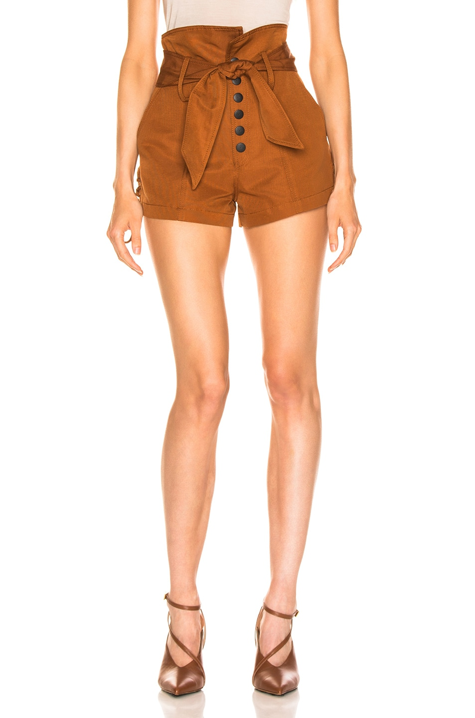 Image 1 of Marissa Webb Gia Faille Shorts in Copper Brown