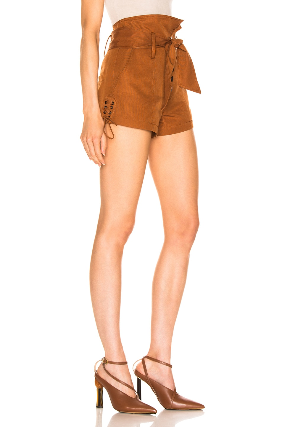 Image 2 of Marissa Webb Gia Faille Shorts in Copper Brown