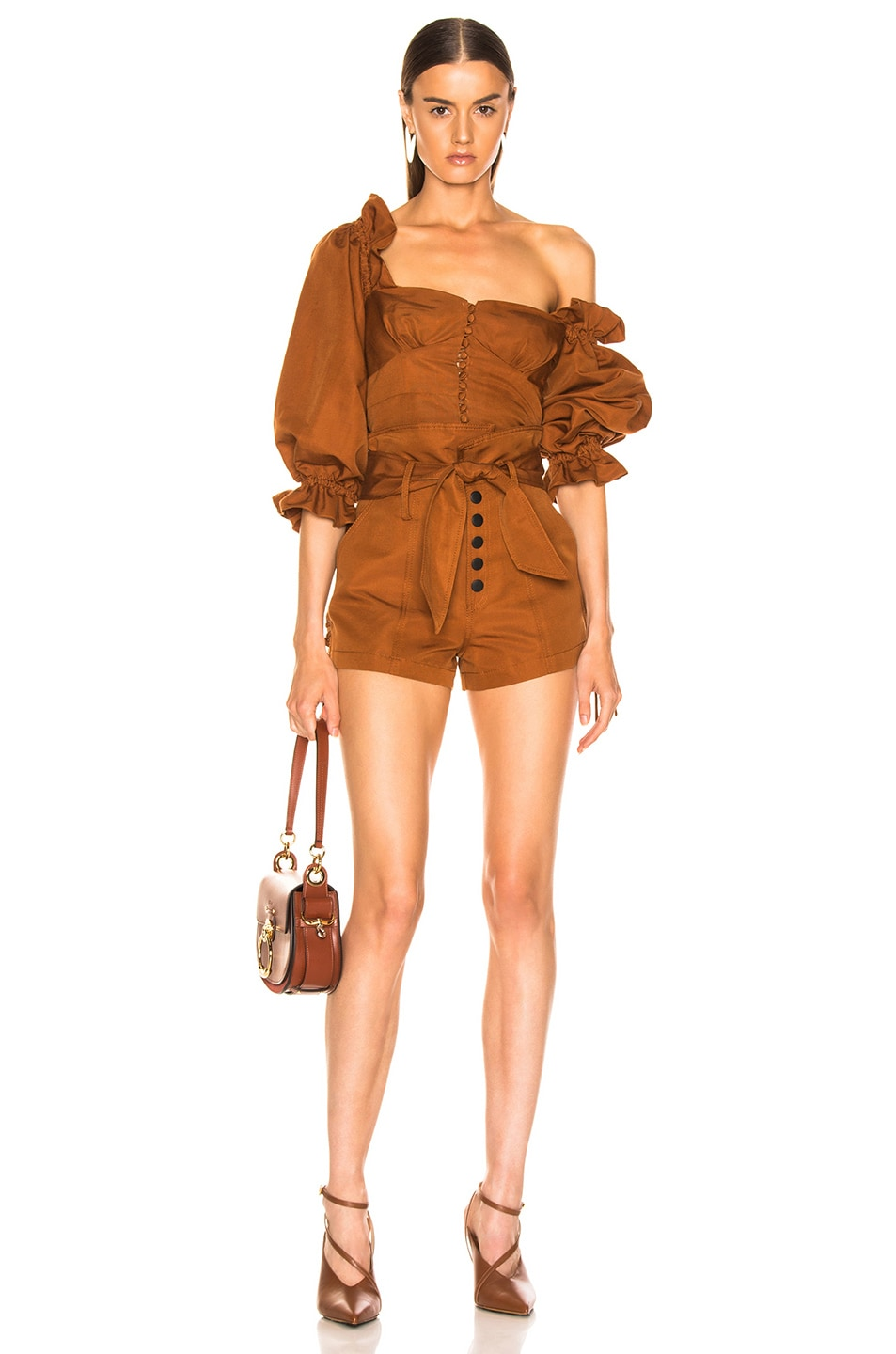Image 4 of Marissa Webb Gia Faille Shorts in Copper Brown