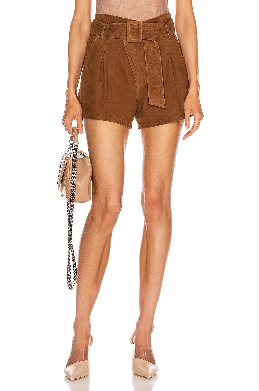 Image 1 of Marissa Webb Levi Suede Shorts in Cognac
